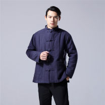 cotton-padded clothes Black, Navy, dark red Mafan cloth clothes M,L,XL Fashion City thickening have cash less than that is registered in the accounts Self cultivation Other leisure Cotton padded jacket Hood middle age Single breasted Chinese style silk floss Straight hem other other Crumple other