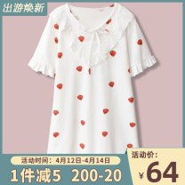 Nightdress Kiki's Secret Sweet Long sleeves pajamas Middle-skirt autumn Plants and flowers youth V-neck cotton printing Knitted cotton fabric