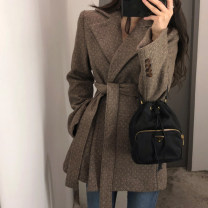 woolen coat Autumn 2020 S,M,L,XL,2XL Khaki, Beixing, khaki [cotton lining], Beixing [cotton lining] wool 30% and below routine Long sleeves commute Frenulum routine tailored collar Herringbone pattern Straight cylinder Retro Pocket, lace up, stitching, stereo decoration, button Solid color