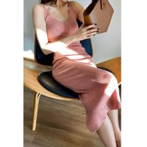 Dress Spring 2020 Heteropollen XS,S,M,L Mid length dress singleton  Sleeveless street V-neck High waist Solid color Socket One pace skirt other camisole 30-34 years old Type H Mix Selection AW19Q112 30% and below knitting wool Europe and America
