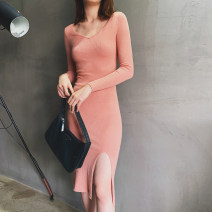 Dress Autumn of 2019 Black, light pink XS,S,M,L Mid length dress singleton  Long sleeves street V-neck High waist Solid color Socket One pace skirt routine Others 30-34 years old T-type Mix Selection 31% (inclusive) - 50% (inclusive) knitting wool Europe and America