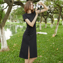 Dress Summer 2020 black XS,S,M,L Mid length dress singleton  Short sleeve commute Crew neck High waist Solid color Socket Irregular skirt routine Others 30-34 years old T-type Mix Selection Simplicity Asymmetry More than 95% knitting polyester fiber