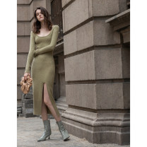 Dress Spring 2021 Bodhi green XS,S,M,L Mid length dress singleton  Long sleeves commute Crew neck High waist Solid color Socket Irregular skirt routine Others 30-34 years old Type X Mix Selection Simplicity thread AW20Q146 31% (inclusive) - 50% (inclusive) knitting wool