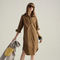 Dress Summer 2020 Brown coffee Average size Mid length dress singleton  Long sleeves middle-waisted Solid color Single breasted shirt sleeve Others 25-29 years old Type H NOT / SO CG028-2 More than 95% other cotton
