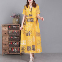 Dress Spring 2021 Yellow, Navy, dark green L,XL Mid length dress singleton  Short sleeve commute V-neck Loose waist Decor Socket Big swing routine Type A literature 51% (inclusive) - 70% (inclusive) hemp