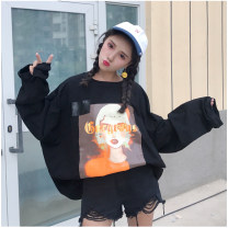 Sweater / sweater Autumn of 2018 black Average size Long sleeves routine singleton  routine Crew neck easy Sweet routine 18-24 years old 81% (inclusive) - 90% (inclusive) polyester fiber college