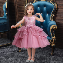 Children's dress Red, sky blue, champagne, bean paste powder, shrimp powder female 120cm,150cm,130cm,140cm,100cm,110cm Other / other full dress Class A other 2 years old, 10 years old Europe and America