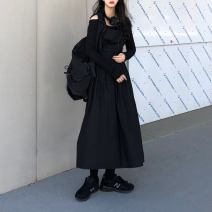 T-shirt Long sleeves with one neck, long skirt with black strap Average size Spring 2020 Long sleeves Self cultivation Regular cotton 31% (inclusive) - 50% (inclusive)