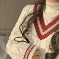 sweater Autumn 2020 Average size Milky white Long sleeves Socket singleton  Medium length acrylic fibres 95% and above