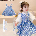 Dress Blue Polka Dot strap skirt, white bubble sleeve bottom shirt female Neon workshop The recommended height is about 80cm for size 80, 90cm for Size 90, 100cm for size 100, 110cm for Size 110, 120cm for Size 120, 130cm for Size 130 and 140cm for size 140 Cotton 100% spring and autumn Skirt / vest