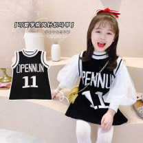 Dress Black sweater, vest and skirt with white mesh sleeves female Other / other The recommended height is about 80cm for size 80, 90cm for Size 90, 100cm for size 100, 110cm for Size 110, 120cm for Size 120, 130cm for Size 130 and 140cm for size 140 Other 100% spring and autumn Korean version other