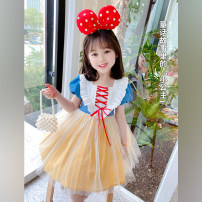 Dress Blue princess skirt + hair band, blue princess skirt female Neon workshop The recommended height is about 90cm for Size 90, 100cm for size 100, 110cm for Size 110, 120cm for Size 120, 130cm for Size 130 and 140cm for size 140 Other 100% summer Korean version Short sleeve other other B98 other