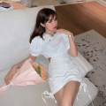Dress Summer 2020 white S, M Short skirt singleton  Short sleeve commute High waist A-line skirt puff sleeve Others 18-24 years old Type A 30% and below other other