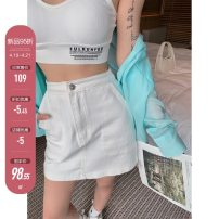skirt Summer 2021 S,M,L white , Batch 2 Short skirt commute High waist A-line skirt Solid color Type A 18-24 years old X21Q2586 31% (inclusive) - 50% (inclusive) other