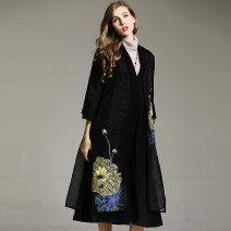 woolen coat Winter 2021 M,L,XL,2XL wool 51% (inclusive) - 70% (inclusive) have more cash than can be accounted for Long sleeves commute A button pagoda sleeve V-neck Plants and flowers Self cultivation ethnic style Anna Teng / Anna Teng 40-49 years old Embroidery, pockets, stitching, buttons