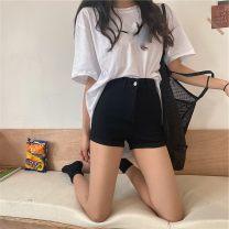 Jeans Summer 2021 Dark grey, versatile black, ice cream white, denim blue S,M,L shorts High waist 18-24 years old