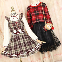 Dress Spring of 2019 Average size Short skirt singleton  Sleeveless Sweet square neck High waist lattice Three buttons Princess Dress Flying sleeve camisole Type A Other / other More than 95% other other solar system