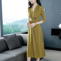 Dress Spring 2020 Yellow 989, decor 988 M,L,XL,2XL,3XL Mid length dress singleton  three quarter sleeve commute V-neck middle-waisted Broken flowers Socket A-line skirt routine Others 35-39 years old Type A lady Fold, tie flower, three-dimensional decoration, printing YF989