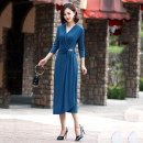 Dress Spring 2020 Blue, red, black, purple M,L,XL,2XL longuette other three quarter sleeve commute V-neck middle-waisted Solid color Socket A-line skirt routine Others 40-49 years old Type A Ol style Ruffle, inlaid diamond, fold, splicing, three-dimensional decoration, asymmetry YF901 knitting other