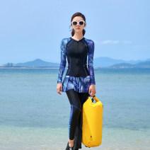 Split swimsuit other With chest pad without steel support Skirt split swimsuit Nylon, spandex 8853 female Crew neck black M,L,XL,XXL,XXXL,4XL,5XL