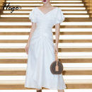 Dress Summer 2020 white XS S M L XL Mid length dress singleton  Short sleeve commute V-neck High waist Solid color Big swing puff sleeve 25-29 years old Hego Retro BH6699 More than 95% polyester fiber Polyester 100% Exclusive payment of tmall