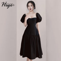 Dress Spring 2021 black XS S M L XL Mid length dress singleton  Short sleeve commute square neck High waist puff sleeve 25-29 years old Hego Retro BH7076 More than 95% polyester fiber Polyester 97% polyurethane elastic fiber (spandex) 3% Pure e-commerce (online only)
