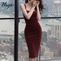 Dress Winter 2020 claret XS S M L XL Middle-skirt singleton  Sleeveless commute High waist Solid color One pace skirt camisole 25-29 years old Hego Retro More than 95% polyester fiber Polyester 98% polyurethane elastic fiber (spandex) 2% Exclusive payment of tmall