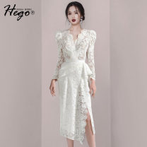 Dress Autumn 2020 white XS S M L XL Mid length dress singleton  Long sleeves commute V-neck High waist Solid color 25-29 years old Hego Retro Lace BH6776-1 51% (inclusive) - 70% (inclusive) cotton Cotton 65% polyamide fiber (nylon) 35% Same model in shopping mall (sold online and offline)