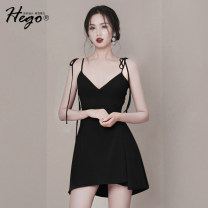Dress Summer of 2019 black XS S M L Short skirt singleton  Sleeveless street High waist Solid color zipper camisole 18-24 years old Hego BH6055 More than 95% polyester fiber Polyester 100% Pure e-commerce (online only) Europe and America