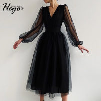 Dress Autumn 2020 black XS S M L XL Mid length dress singleton  Long sleeves commute V-neck High waist Solid color Big swing 25-29 years old Hego Retro BH6895 More than 95% polyester fiber Polyester 100% Exclusive payment of tmall