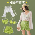 Split swimsuit Lucky candy girl green M,L,XL Skirt split swimsuit Steel strap breast pad Nylon, spandex, others female V-neck