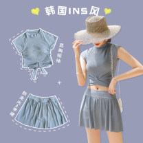 Split swimsuit Lucky candy girl grey M,L,XL Skirt split swimsuit With chest pad without steel support Nylon, spandex female High collar