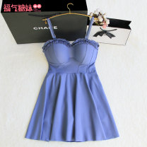 one piece  Artrose M,L,XL Haze blue Skirt one piece With chest pad without steel support female Sleeveless Casual swimsuit Solid color Pleating