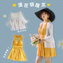 one piece  Lucky candy girl M,L,XL,XXL,XXXL,4XL,5XL yellow Skirt one piece Steel strap breast pad Nylon, spandex, others female Sleeveless Solid color Bright silk