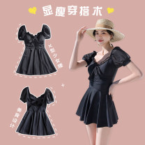 one piece  Lucky candy girl M,L,XL black Skirt one piece With chest pad without steel support Nylon, spandex, others female Short sleeve Casual swimsuit Solid color bow