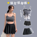 Split swimsuit Lucky candy girl black M,L,XL Skirt split swimsuit With chest pad without steel support Nylon, spandex, others female V-neck