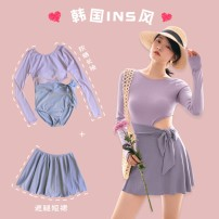 one piece  Lucky candy girl M,L,XL Purple with grey, pink with coffee, green with grey Skirt one piece With chest pad without steel support Nylon, spandex, others female Long sleeves Casual swimsuit Solid color