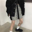 skirt Autumn 2020 S, M Apricot, white Short skirt Versatile High waist A-line skirt Leopard Print Type A 18-24 years old 30% and below cotton