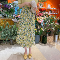 skirt Spring 2021 S,M,L Yellow flower Mid length dress commute High waist other Broken flowers Type A 18-24 years old 30% and below corduroy Other / other Korean version