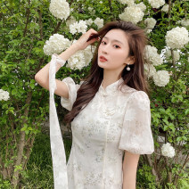 Dress Spring 2021 Long, short XS,S,M,L,XL Mid length dress singleton  Short sleeve commute stand collar High waist Broken flowers Socket A-line skirt puff sleeve Others 18-24 years old Type A Other / other Korean version 30% and below Denim