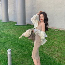 Dress Spring 2021 Khaki, black, pink Average size Mid length dress singleton  Sleeveless commute High waist Solid color Socket other routine camisole 18-24 years old Type H Other / other Korean version 30% and below other