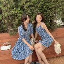 Dress Spring 2021 Blue - suspender skirt, blue - short sleeve skirt S,M,L Short skirt singleton  Sleeveless commute High waist Broken flowers Socket A-line skirt camisole 18-24 years old Type A Other / other Korean version 30% and below other
