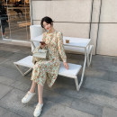 Dress Spring 2021 Blue, apricot, pink XS,S,M,L Mid length dress Long sleeves commute Crew neck High waist Broken flowers other routine 18-24 years old Type A Other / other Korean version 30% and below Chiffon other