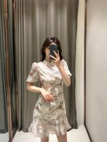 Dress Spring 2021 Picture decor - short, picture decor - long S,M,L,XL Short skirt singleton  Short sleeve commute other High waist Broken flowers Socket A-line skirt puff sleeve 18-24 years old Type H Other / other Korean version 30% and below other