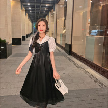Dress Spring 2021 Black, champagne, white S,M,L,XL Mid length dress singleton  Sleeveless commute V-neck High waist Solid color Single breasted A-line skirt camisole 18-24 years old Type A Korean version 30% and below other