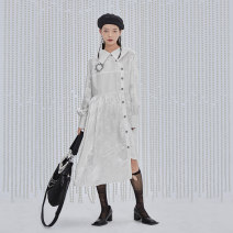 Dress Spring 2021 Milky white S,M,L Mid length dress singleton  Long sleeves commute other middle-waisted Solid color Single breasted routine Others 25-29 years old Type A Semicircle literature B21114048 other polyester fiber