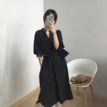 Dress Summer 2021 Black, army green M, L Mid length dress singleton  three quarter sleeve commute V-neck middle-waisted Solid color Socket A-line skirt puff sleeve Others 25-29 years old Type A Simplicity Bandage 183LYQA927--3 More than 95% other nylon