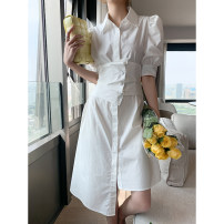 Dress Summer 2021 White, black, blue S, M Mid length dress singleton  Short sleeve commute Polo collar High waist Solid color Single breasted A-line skirt puff sleeve Others 25-29 years old Type H Simplicity Lace up, button More than 95% other
