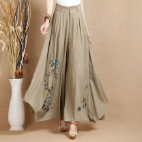 Casual pants Khaki 1801, black 1801 M,L,XL,2XL Spring 2021 trousers Wide leg pants Natural waist commute routine 30% and below Q1801 Qslz / qingshuiling seed hemp literature printing and dyeing