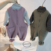 Jumpsuit / climbing suit / Khaki Other / other other neutral Light purple jumpsuit, khaki jumpsuit, grapefruit powder jumpsuit, card green jumpsuit, white striped bottom shirt, black striped bottom shirt 73cm,80cm,90cm,100cm,110cm cotton spring and autumn Sleeveless Long climb Korean version No model